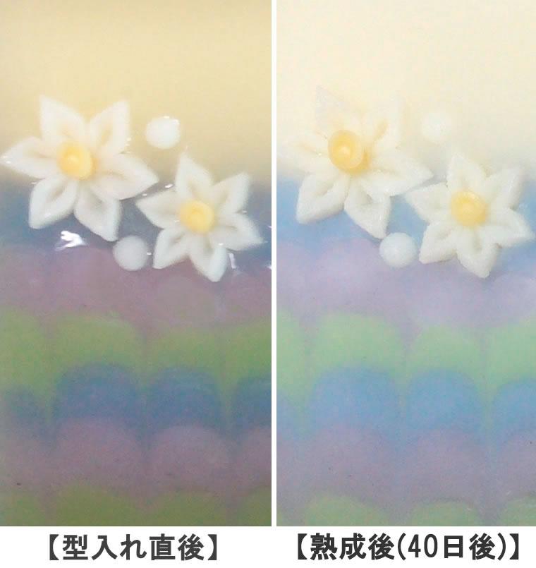 手作り石けん 型入れ直後と、熟成後(約40日後)の比較画像