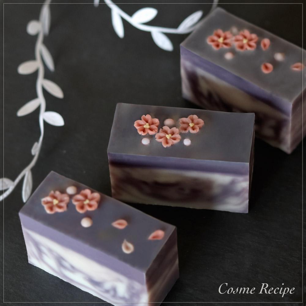 紫根マーブルとフラワーコンフェの手作り石けん講座のご案内 桜バージョン